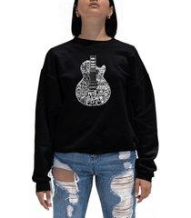 women's word art rock guitar head crewneck sweatshirt