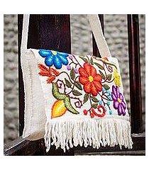 wool shoulder bag, 'flowers in snow' (peru)
