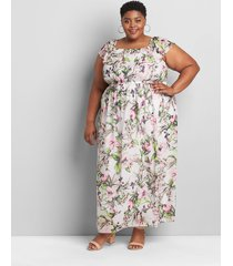 lane bryant women's printed multi-way off-the-shoulder maxi dress 10/12p white tropical floral