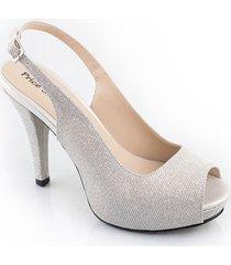 priceshoes calzado dama fiesta tacon 7 1/2 plata 542834plata