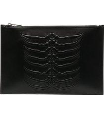 alexander mcqueen embossed zip pouch bag - black
