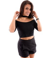 blusa cropped up side wear choker preto