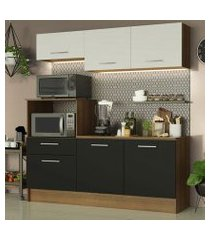 cozinha compacta madesa onix 180001 com armário e balcão rustic/preto/branco cor:rustic/preto/branco