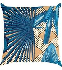 capa almofada 43x43cm tropical azul
