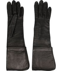 manokhi long-length leather gloves - black