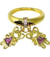 anel berloque filhos duas meninas com zircônia banhado a ouro