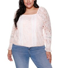 belldini black label plus size mixed lace puff sleeve top