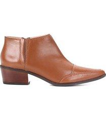 ankle boot couro shoestock salto baixo bico fino - feminino