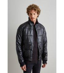 jaqueta de couro bomber raglan reserva preto