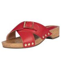 tamanco madeira domidona feminino clog salto baixo tachinhas vermelho