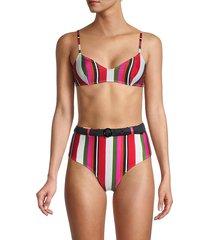 solid and striped women's cora bikini top - watermelon - size xs