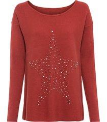 maglione oversize con applicazione (rosso) - bodyflirt