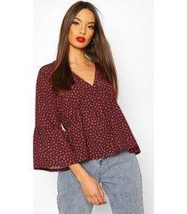 heart print flute sleeve blouse, black