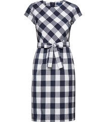 d1. fitted gingham dress jurk knielengte blauw gant