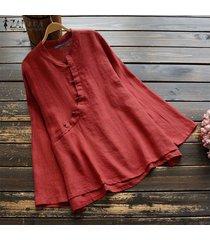 zanzea para mujer ropa de cuello redondo botones holgada de algodón tops blusa de la camisa del tamaño extra grande -rojo