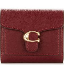 coach women's polished pebble tabby small wallet - deep red