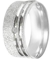 aliança prata mil risco na lateral de prata fosca c/ zircônia (unidade) prata