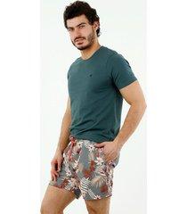 pantaloneta de baño de hombre, silueta confort, con estampado floral y de palmeras