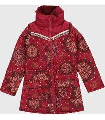 chaqueta vinotinto-multicolor desigual