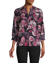 printed ruffle buttoned top