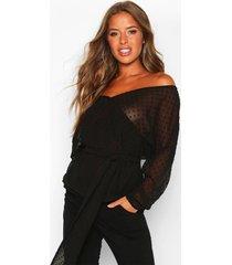 petite dobby mesh off shoulder belted blouse, black