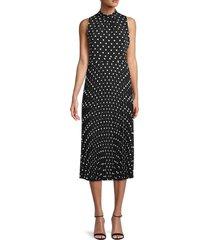 karl lagerfeld paris women's polka dot midi dress - black - size 4
