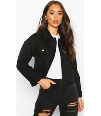 acid wash distressed jean jacket, black