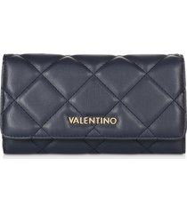 valentino by mario valentino designer wallets, ocarina blue quilted eco leather flap wallet