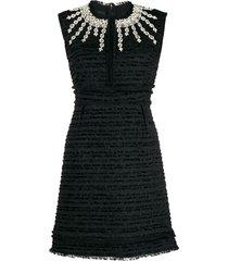 giambattista valli crystal-embellished bouclé-tweed dress - black