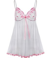 plus size lace panel sheer mesh babydoll with sequines