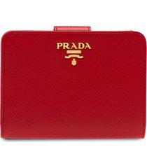 prada logo-plaque square wallet - red