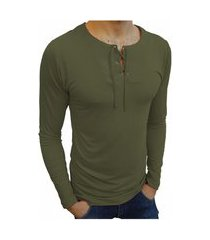 camiseta bata básica básica slim lisa manga longa verde musgo