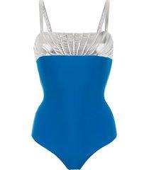 adriana degreas bicolour swimsuit - blue