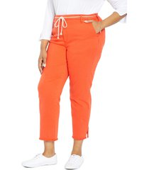 nydj belted relaxed ankle pants, size 20w in orange poppy at nordstrom