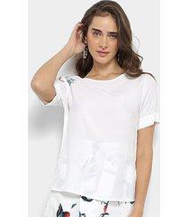 blusa maria filó com bordado manga curta feminina