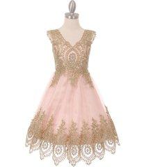 blush sleeveless gold coiled lace mesh tulle skirt flower girl dress