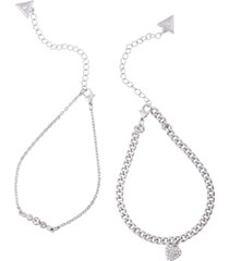 guess silver-tone 2-pc. set crystal & pave heart charm ankle bracelets
