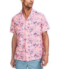 nautica men's classic-fit tropical-print linen camp shirt