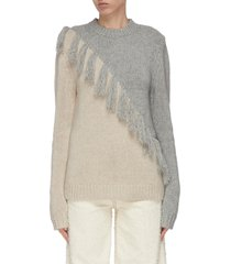tassel front colourblock wool cashmere blend sweater