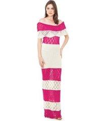 tricô vestido longo pink tricot ombro a ombro pala listrado feminino
