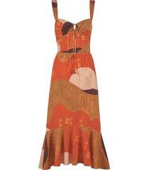beloved woman midi dress orange