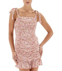 minkpink little darling cotton printed ruched dress