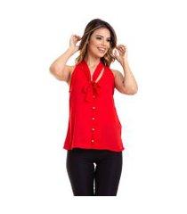 blusa kinara regata crepe amarar na gola vermelho