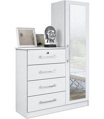 comoda belize plus 4 gavetas e 1 porta com espelho branco textura móveis albatroz