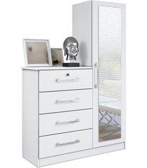 comoda belize plus 4 gavetas e 1 porta com espelho branco textura mã³veis albatroz - branco - dafiti