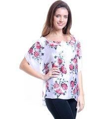 blusa 101 resort wear poncho crepe estampada maxi flor branco e vermelho