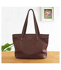 leather shoulder bag, 'stylish chic in brown' (peru)
