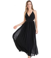 vestido fiesta espalda cruzada negro nicopoly