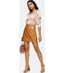 caramel brown vinyl stud pocket mini skirt - caramel