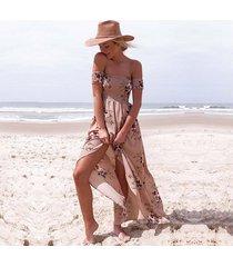 vestido casual generico playa estampada de gasa -rosa